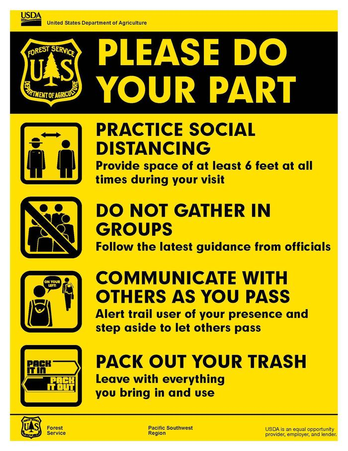 Please Do Your Part Practice Social Distancing, Do not Gather in Groups, Communicate with other as you PAss on the trail, Pack out your trash