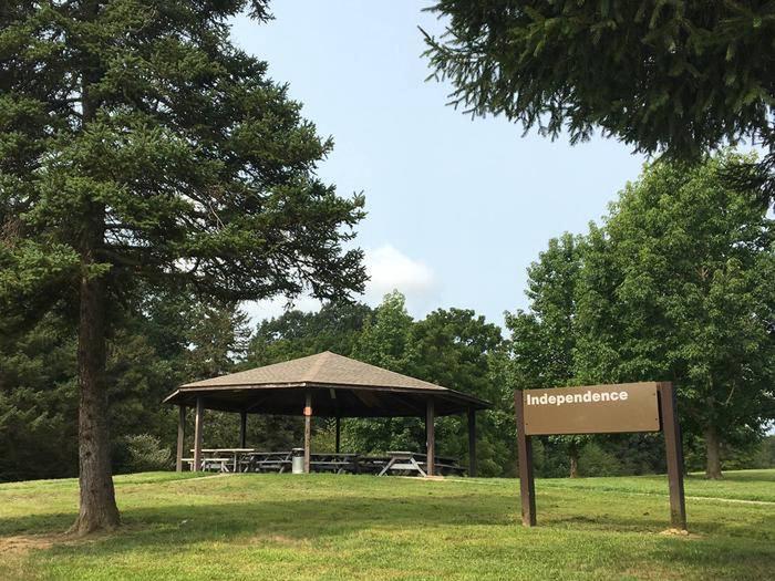 Independence Pavilion with signIndependence Pavilion