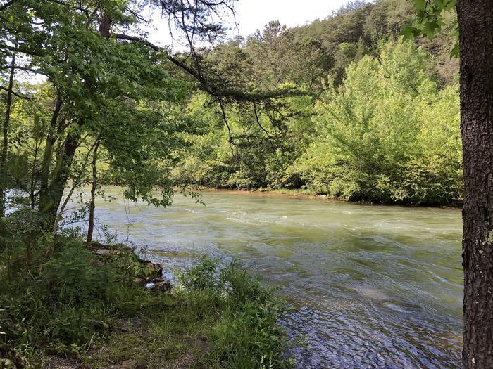 Ocoee River flowing behind campsite