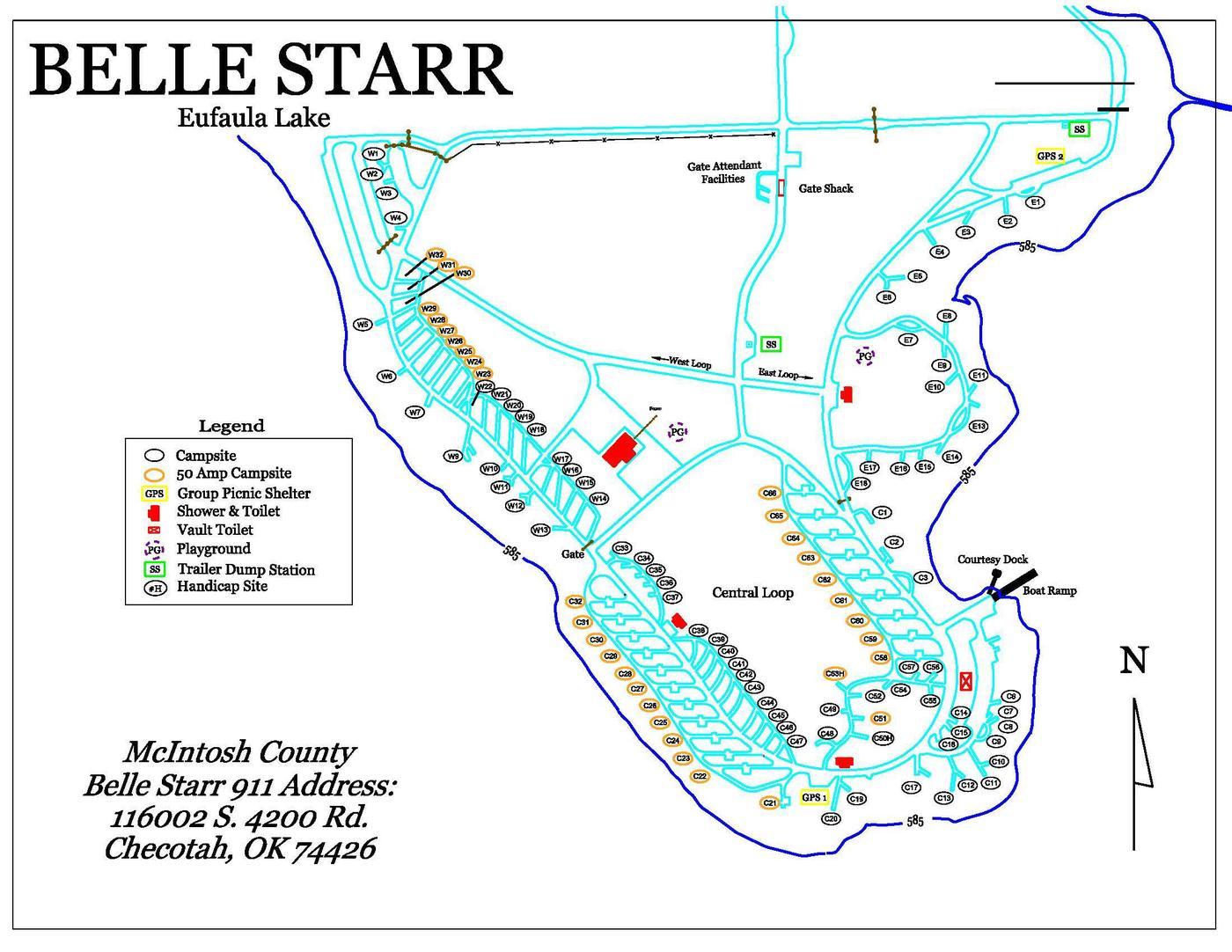Belle Starr Park MapPark Map