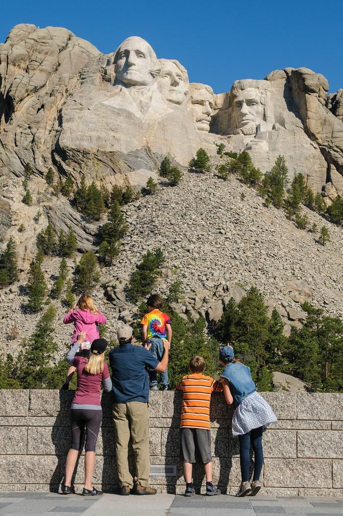 Visitors at Mount Rushmore National Memorial