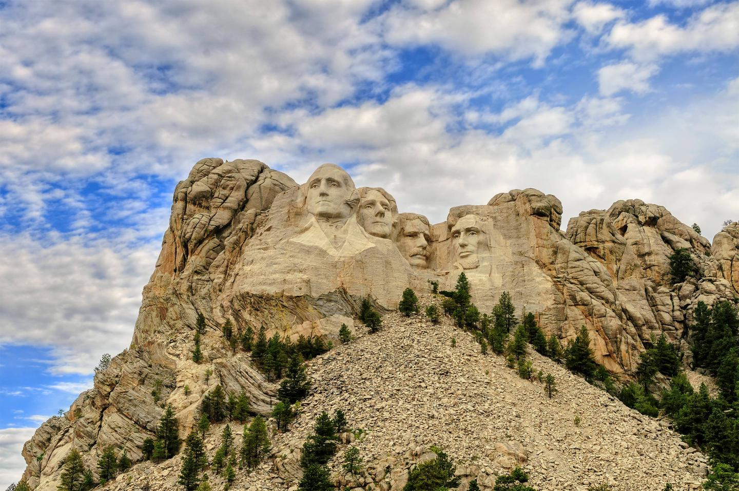 A panoramic view of Mount Rushmore National Memorial