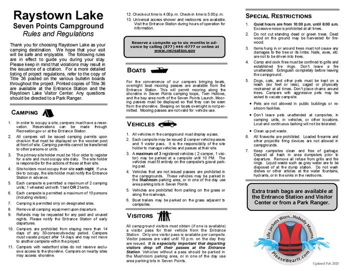 rules and regsSeven points camping rules and regulations