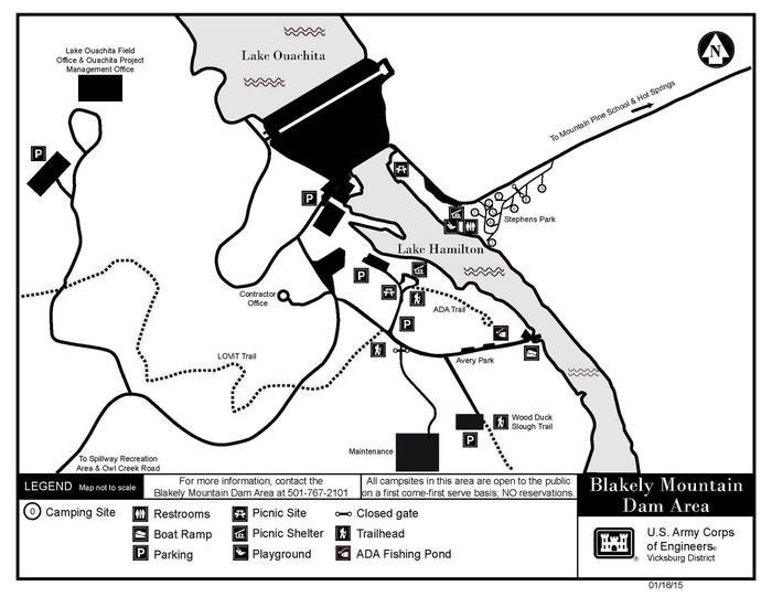Campground and Blakely mtn Dam area map