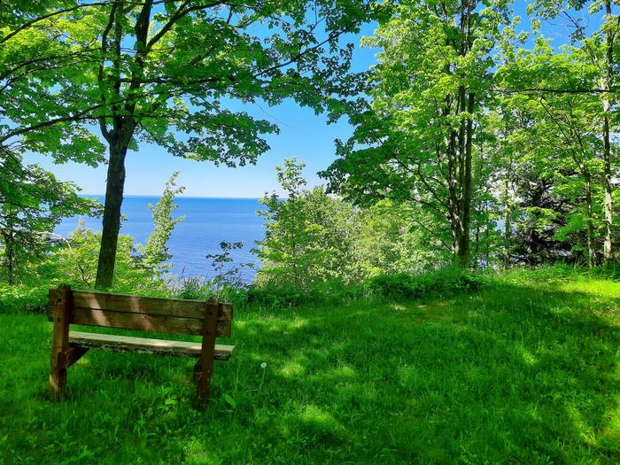 Scenic view of Lake Superior from a bench in the campground.Scenic view of Lake Superior from the campground.