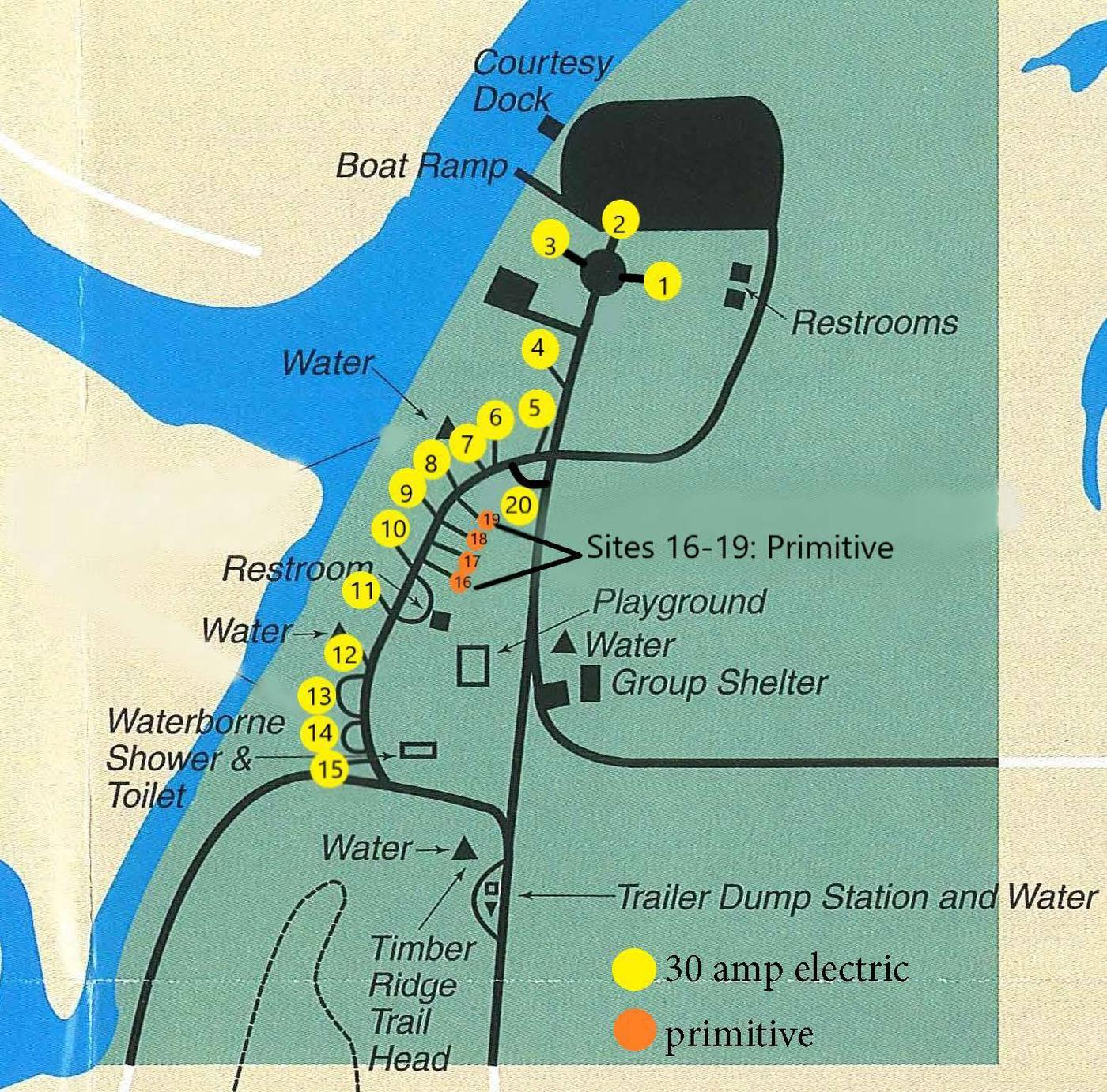 Card Creek Campground Map with Amenities