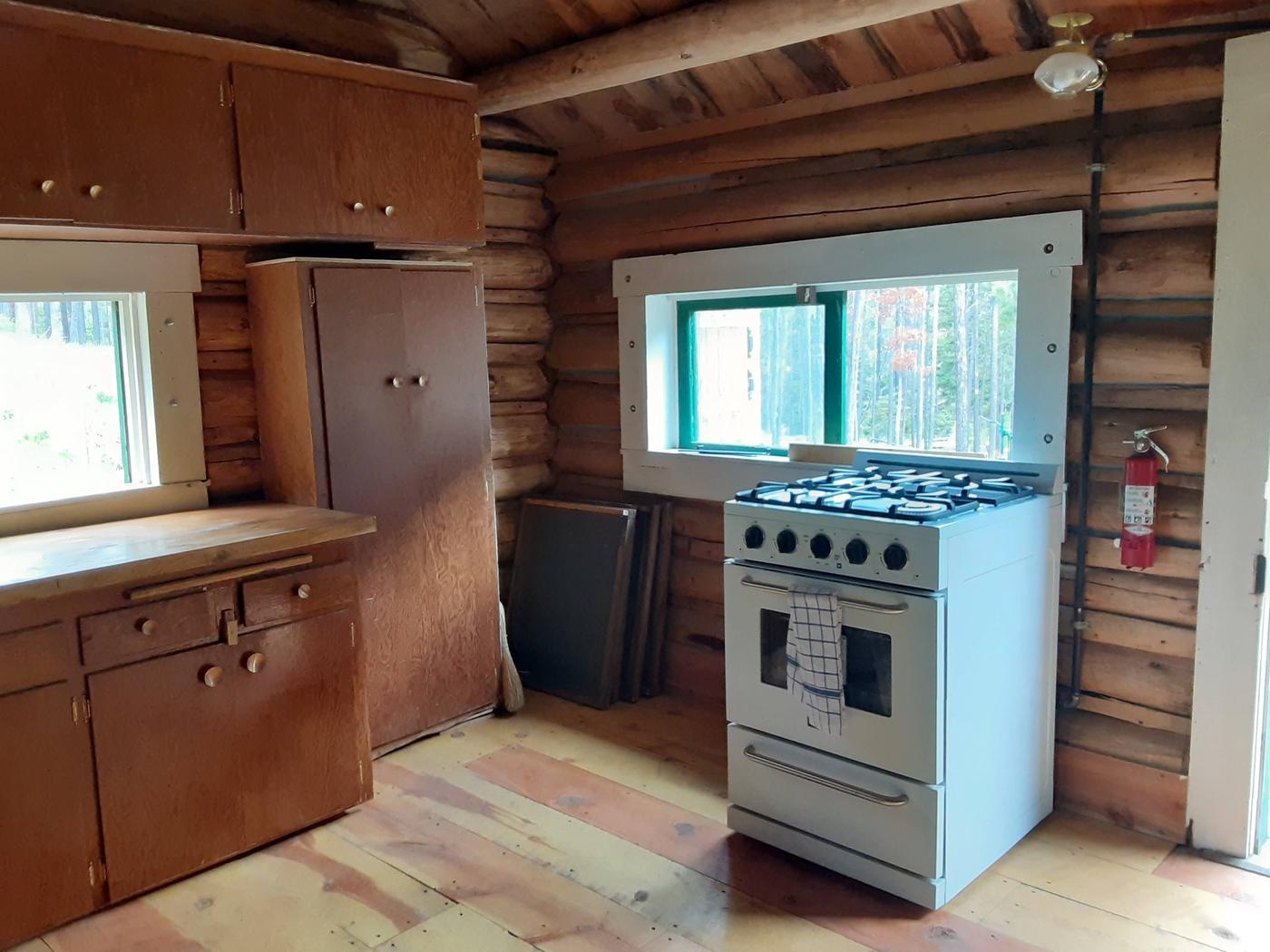 Propane stoveStove and kitchen area
