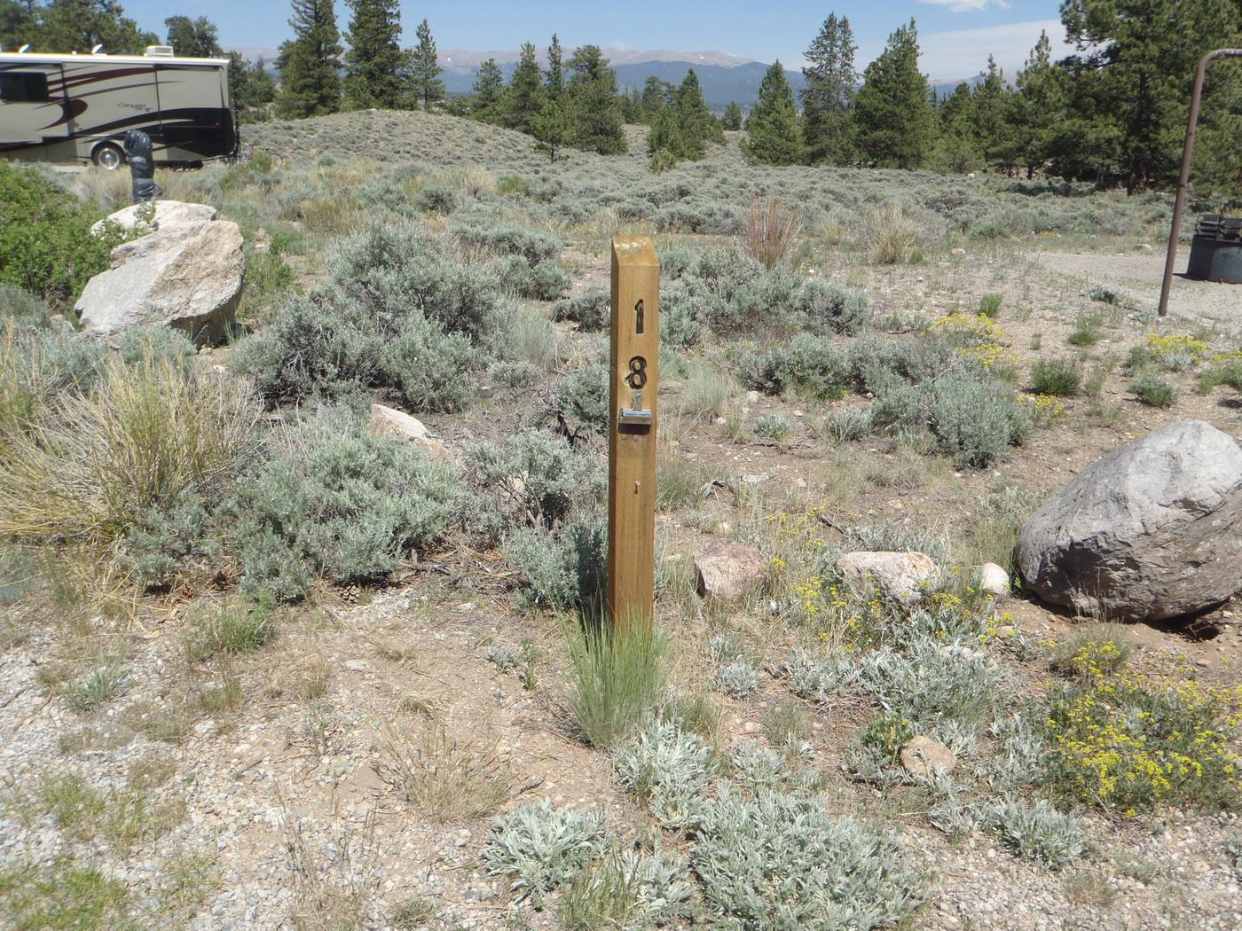 White Star Campground, site 18 marker