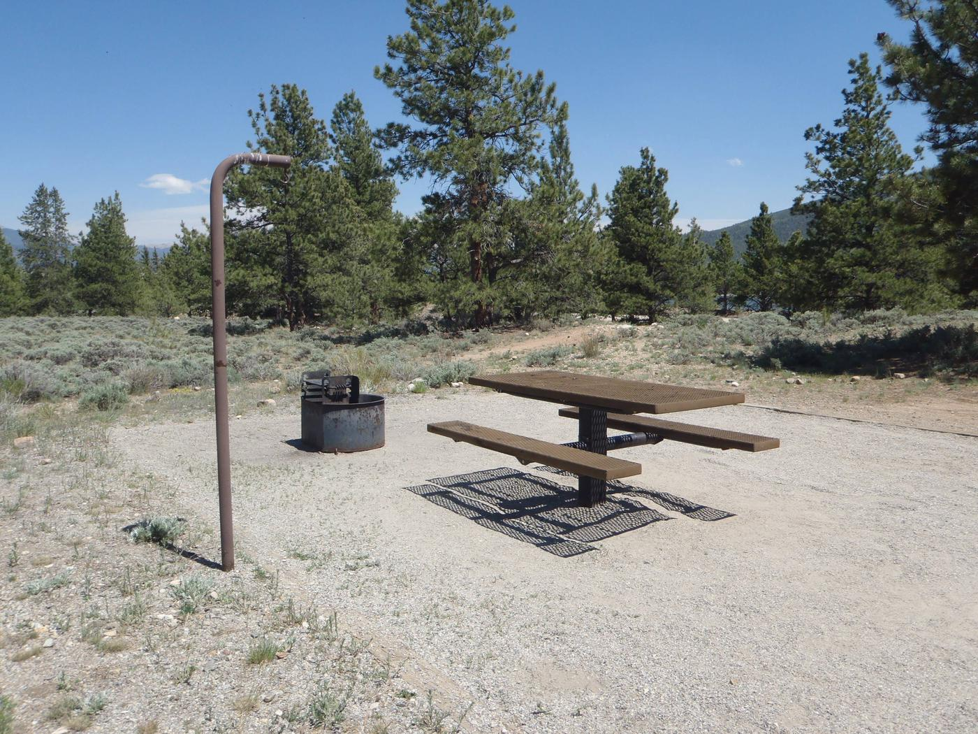 White Star Campground, site 18 picnic table and fire ring