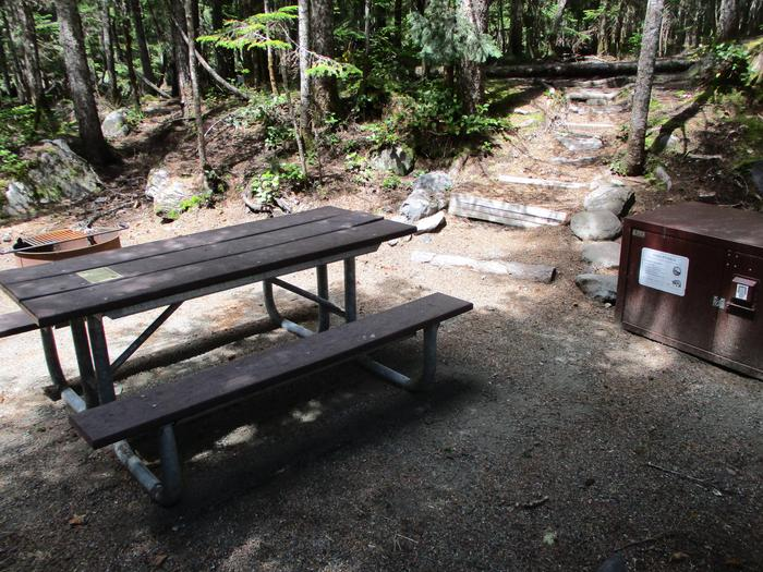 Picnic Table, Fire ring, and Bear boxCampsite amenities include: Picnic table, fire ring, and bear box