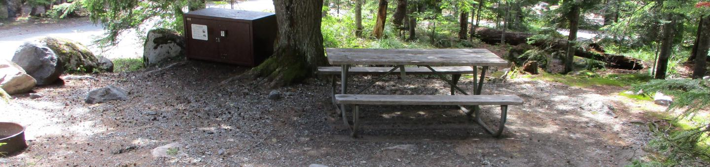 Site amenities.Bear box, fire ring, picnic table