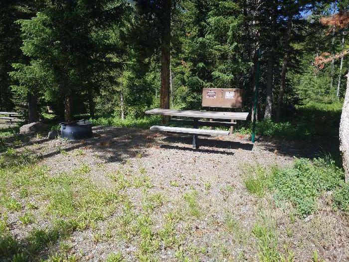 Threemile Campground Campsite 6 - Front View with picnic table, bear box, and fire ringThreemile Campground Campsite 6 - Front View