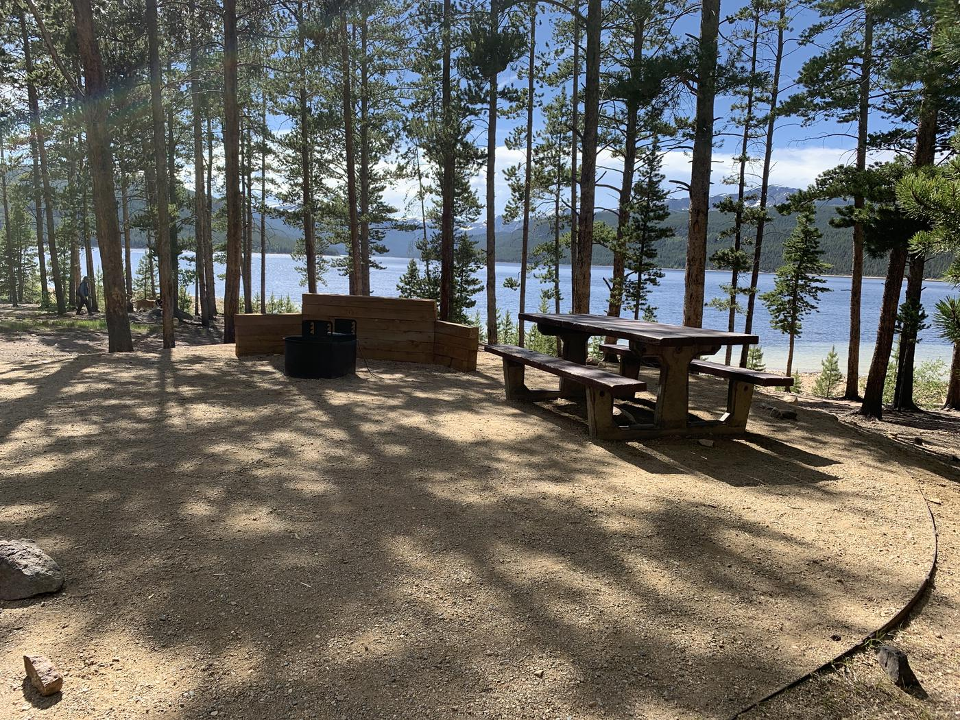 Molly Brown Campground, site 6 picnic table and fire ring