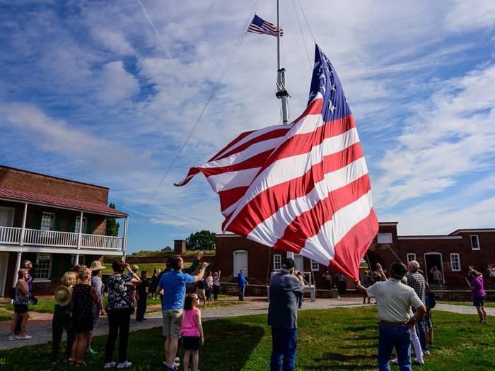 Flag change program at Fort McHenry National Monument and Historic Shrine