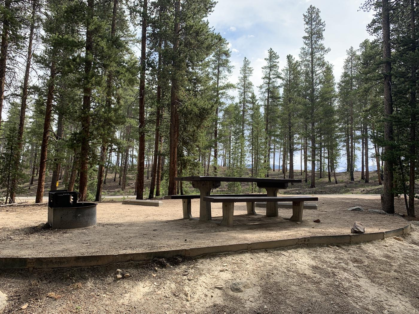 Molly Brown Campground, site 26 picnic table and fire ring