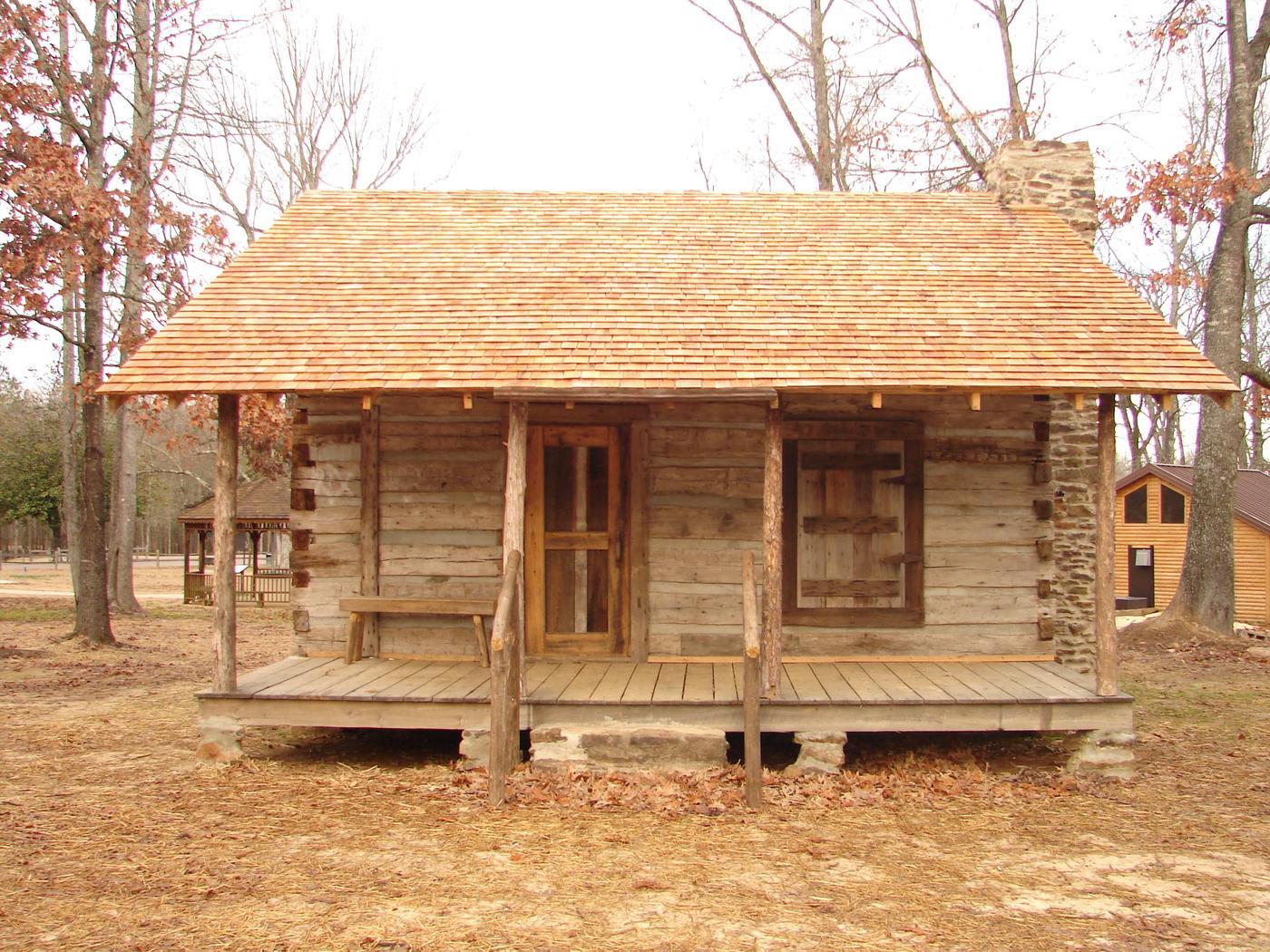 1900's era hewn timber cabinCabin