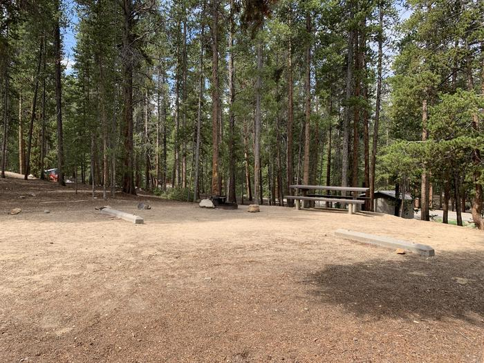 Molly Brown Campground, site 25 picnic table and fire ring