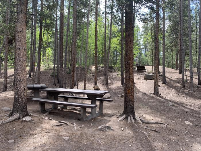 Molly Brown Campground, site 32 picnic tables and fire ring 3