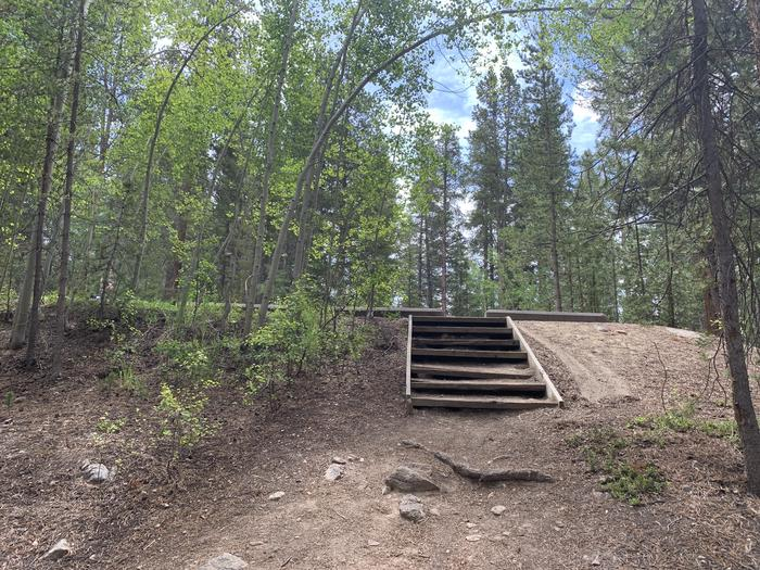 Stairway to vehicle parking area at Molly Brown Campground, site 32
