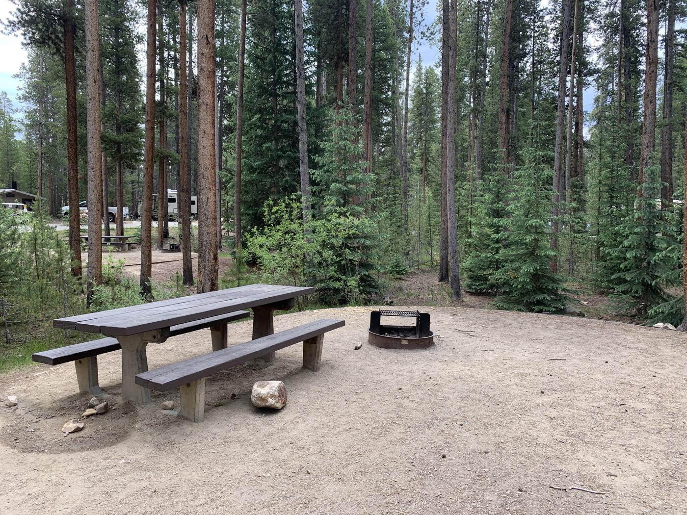 Molly Brown Campground, site 48 picnic table and fire ring 3