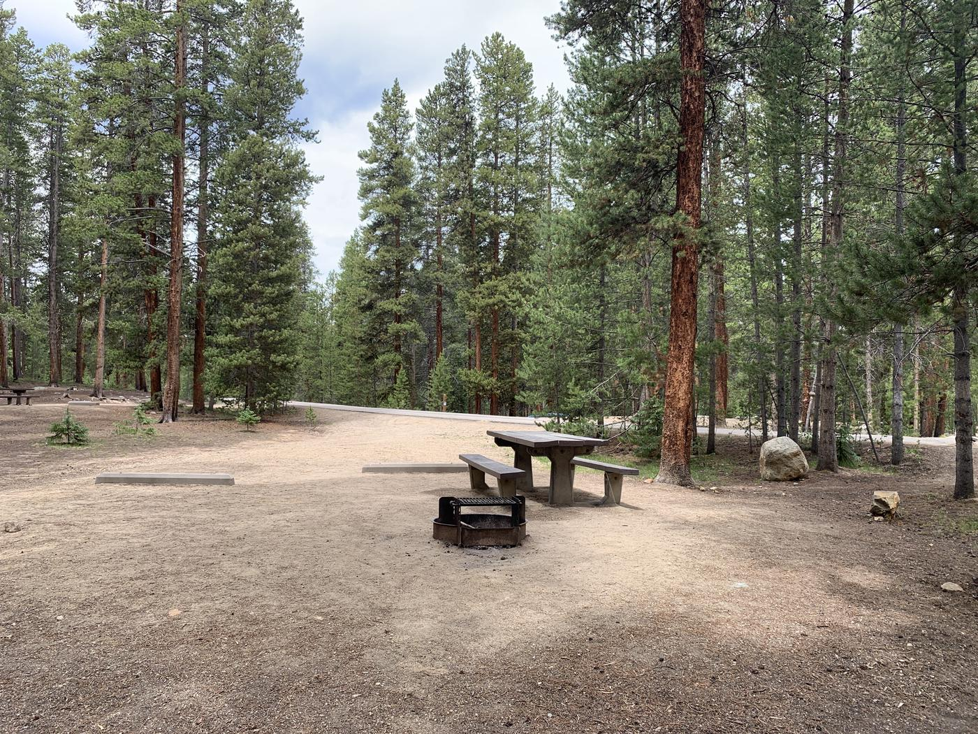Molly Brown Campground, site 28 picnic table and fire ring