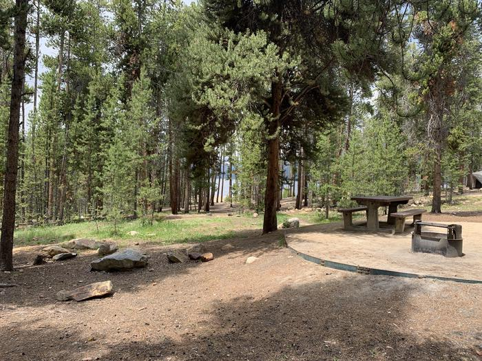 Molly Brown Campground, site 14 picnic table and fire ring