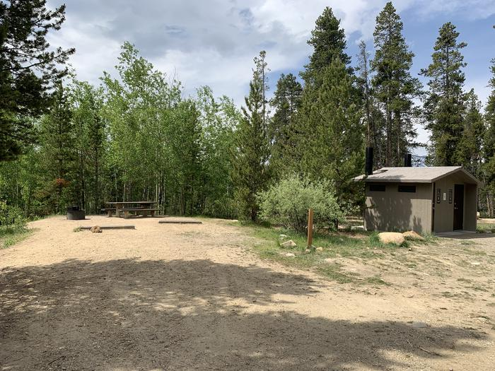 Very short walk from Molly Brown Campground, site 38 to vault toilets