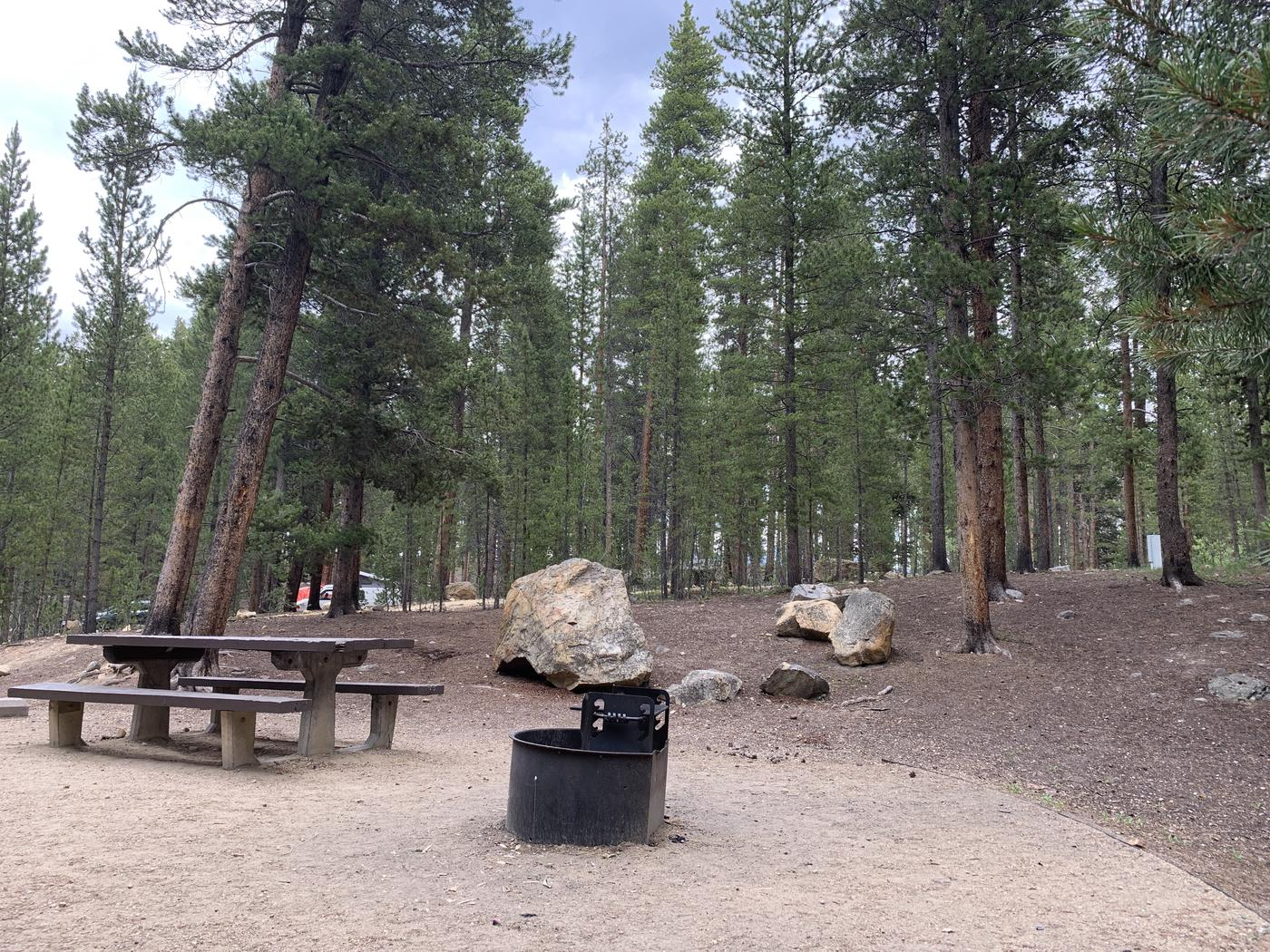 Molly Brown Campground, site 22  picnic table and fire ring 7