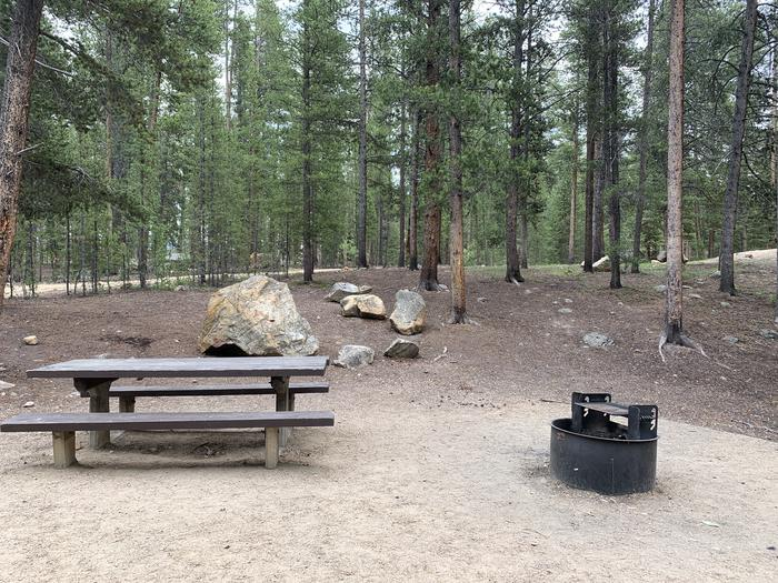 Molly Brown Campground, site 22  picnic table and fire ring 10