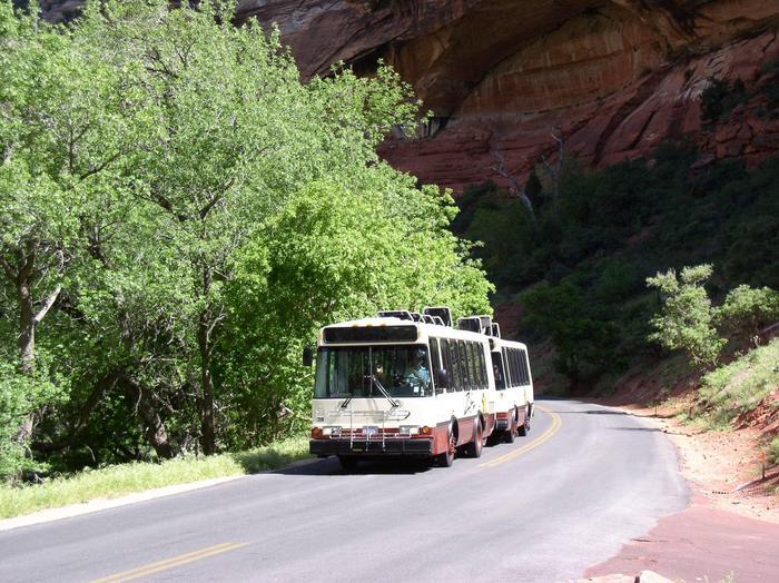 Zion Canyon Shuttle headed up canyon