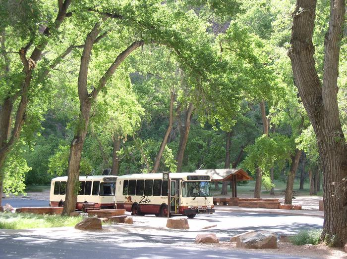 Zion Canyon Shuttle parked at the Grotto.