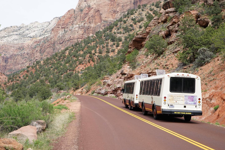 Zion Canyon Shuttle drive up canyon