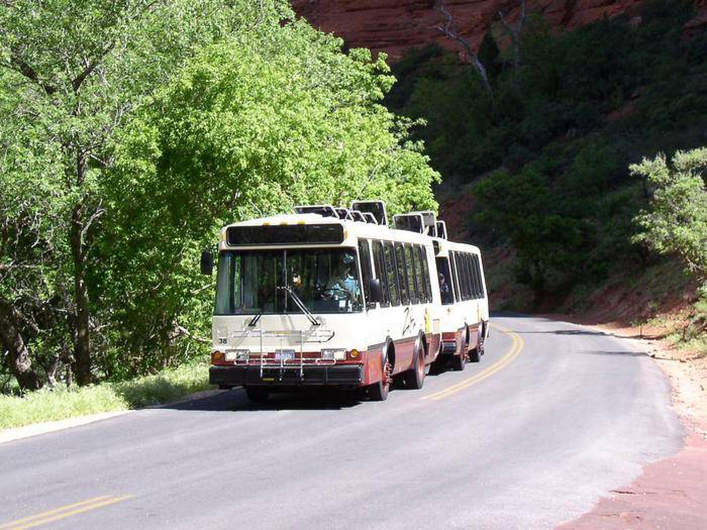 Zion Shuttle Bus Heading up Canyon Shuttle bus in the canyon