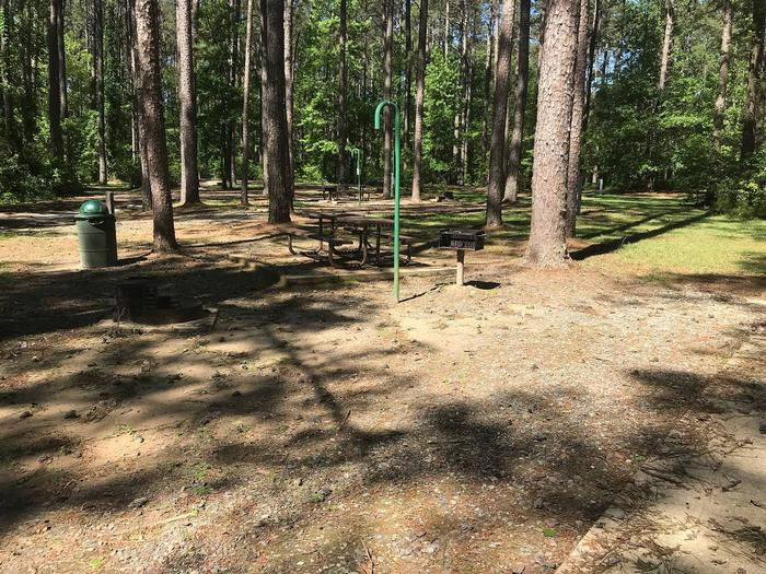 Shaded Class A Campsite 18Shaded Class A Campsite #18. RV pad, water, and 20/30/50 AMP electric hook-ups as well as basic campsite amenities including a picnic table, lantern post, fire ring, trash can and grill.