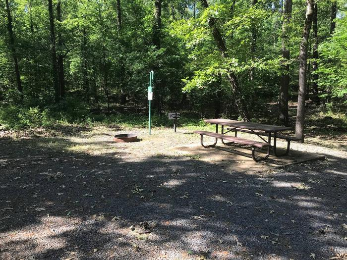 Campsite #9.Campsite #9. Tent site with the following amenities: fire-pit, grill, picnic table, lantern pole, trash can.