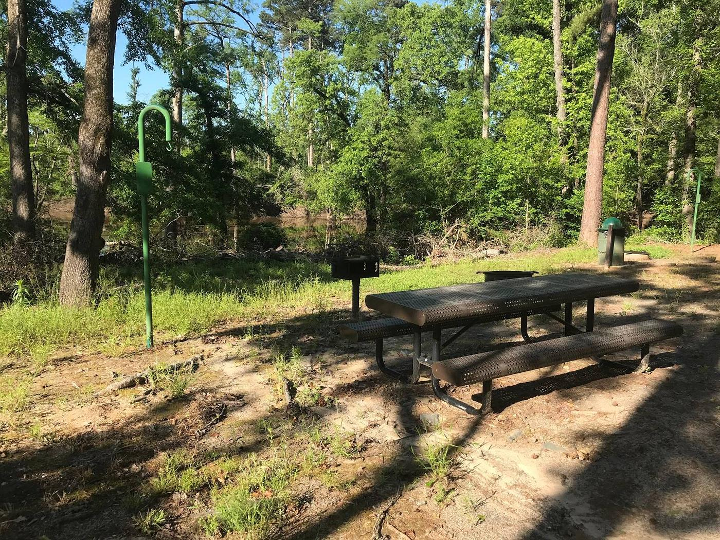 Campsite #6.Campsite #6. Tent site with the following amenities: fire-pit, grill, picnic table, lantern pole, trash can.  Located along bayou.