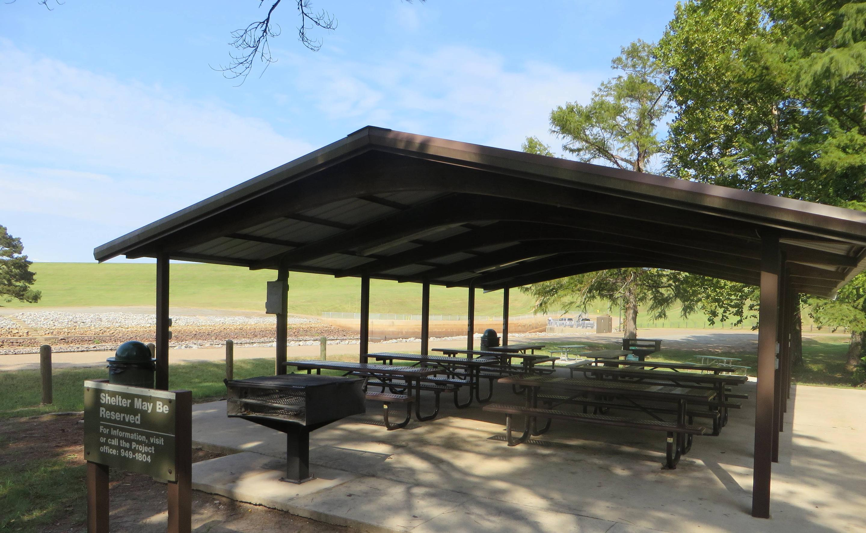 Picnic Shelter Available for RentThis picnic shelter is available in the Tom Merrill Recreation Area.  Pavilion fee is $50 a day and shelter reservations may be made by calling (318) 949-1804, or by reserving on recreation.gov. Pavilion can hold a maximum capacity of 75 people. Located within walking distance of the comfort stations and the outlet channel.