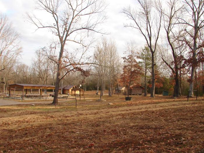 Picnic shelter, Log Cabin, Outhouse,Ford's Well Recreation Area
