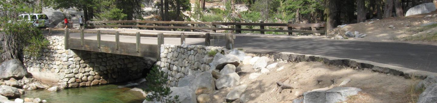 Lodgepole Campground, Sequoia Kings Canyon National ParksA vehicle bridge crossing a mountain stream in Lodgepole Campground