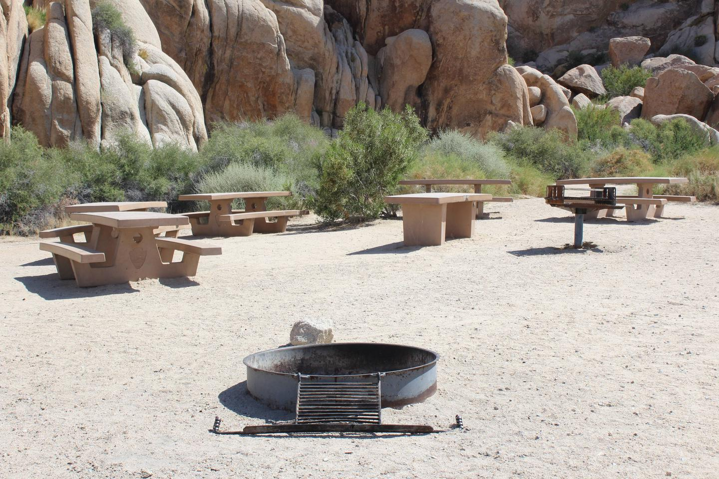 Indian Cove Group Site 1 AmenitiesAmenities: BBQ Grill, Tables and In-Ground Fire Pit