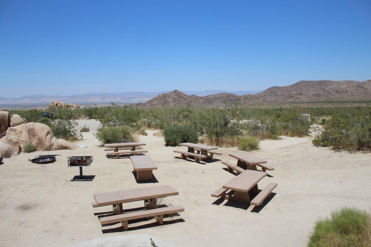 Indian Cove Group Site 2 AmenitiesAmenities: BBQ Grill, Tables and In-Ground Fire Pit