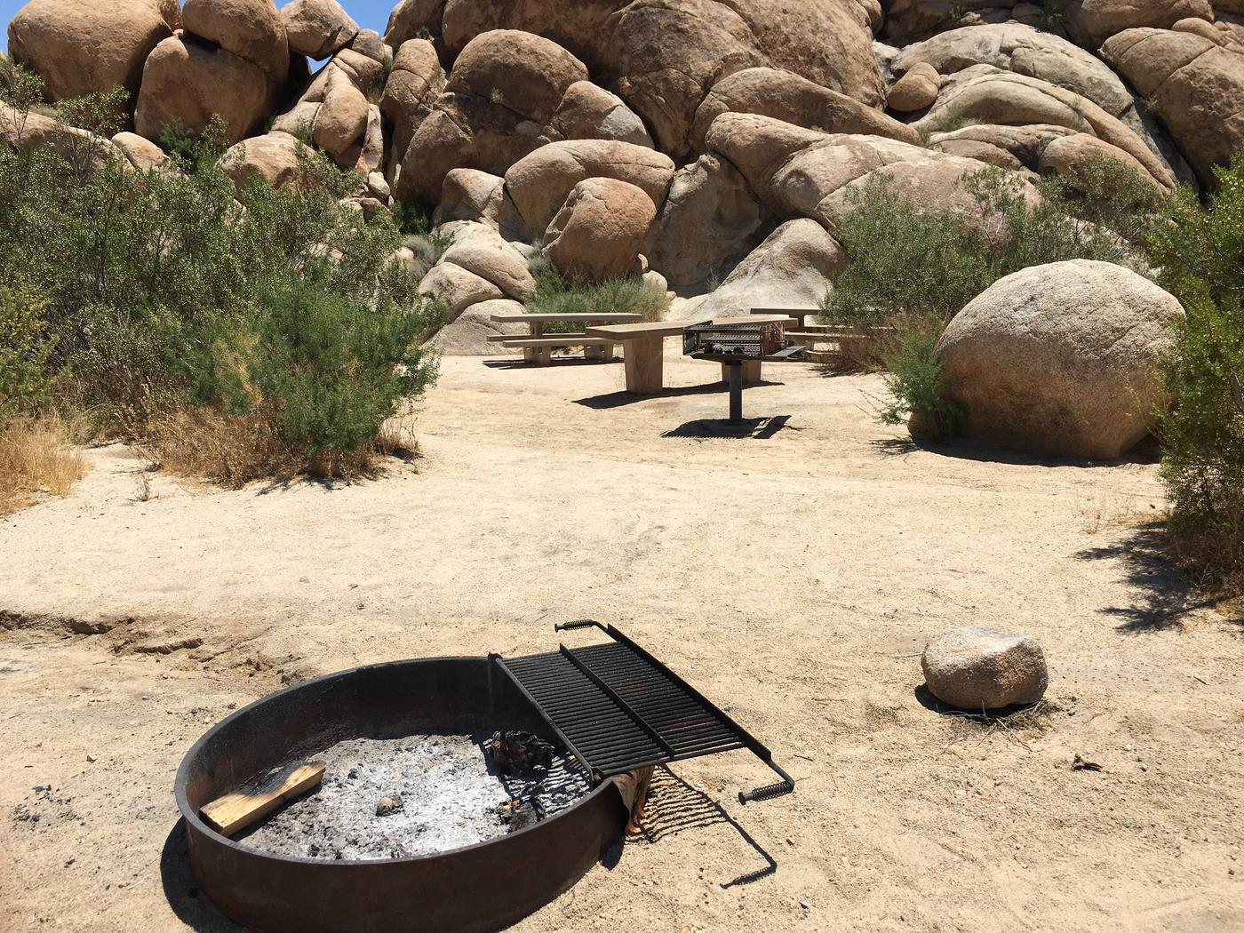 Indian Cove Group Site 6 AmenitiesAmenities: BBQ Grill, Tables and In-Ground Fire Pit