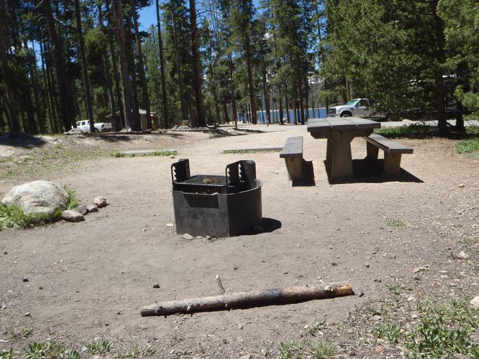 Molly Brown Campground, site 11 fire ring and picnic table