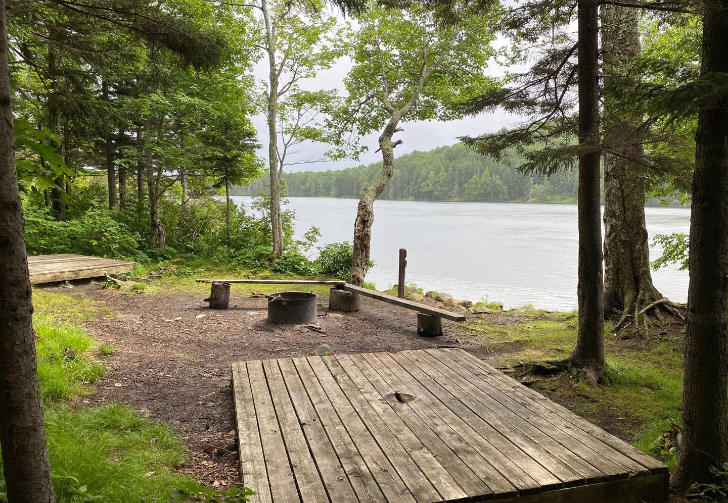 tent pads, fire ring, and benches campsite 9