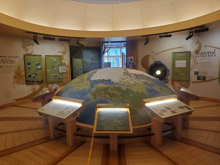 Map Exhibit at Arctic Interagency Visitor CenterExhibits focus on the Arctic environment