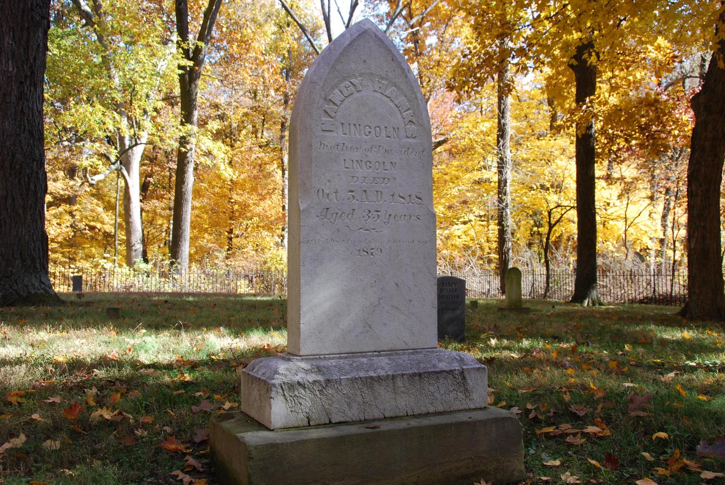 Gravesite of Nancy Hanks LincolnThe headstone, erected in 1879, marks the burial spot of Abraham Lincoln's mother, who died of milk sickness in 1818.