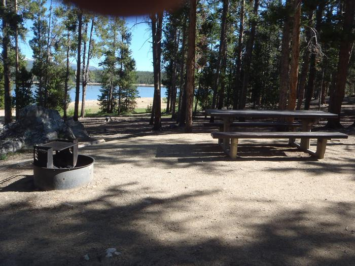 Molly Brown Campground, site 12 picnic table and fire ring