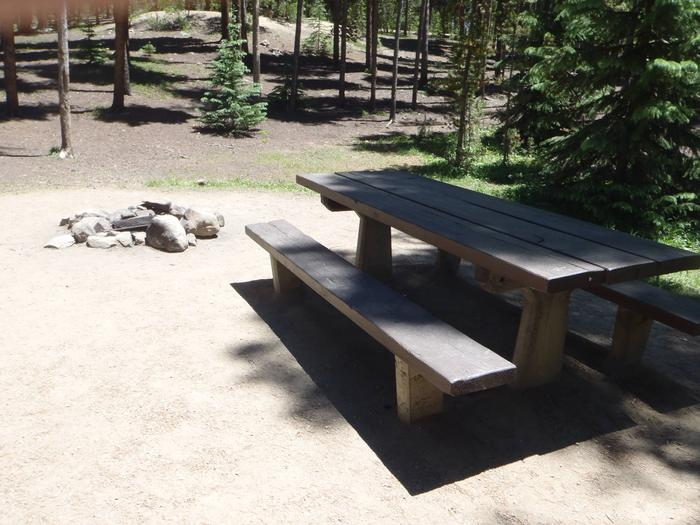 Molly Brown Campground, site 18 picnic table and fire ring 2