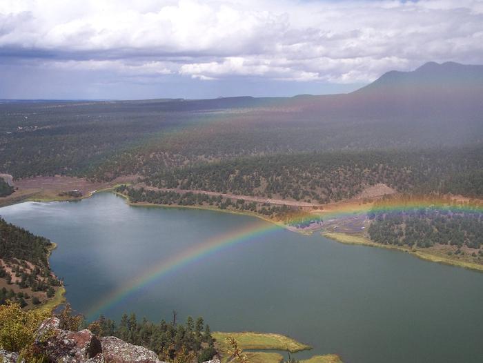 Pinon CampgroundRainbow over Quemado Lake near Pinon Campground