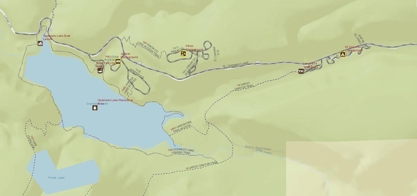 Interactive Visitor Map screen capture of campgrounds near Juniper Campground and Quemado Lake